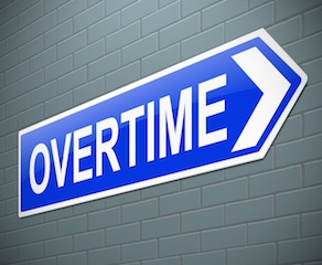 Illustration depicting a sign with an overtime concept.